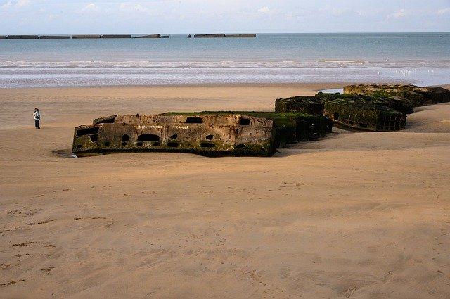 Arromanches landing beach in Normandy